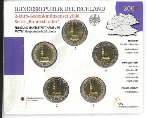 Lieferumfang:Deutschland : 2 Euro Hamburger Michel - St. Michaeliskirche Komplettsatz im Originalblister 5 x 2 Euro  2008 Stgl.