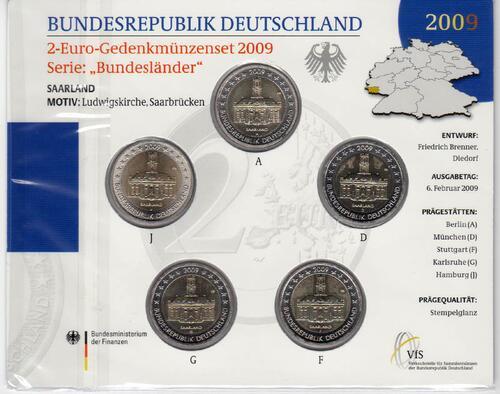 Lieferumfang:Deutschland : 2 Euro Saarland : Ludwigskirche in Saarbrücken Komplettsatz im Originalblister 5 x 2 Euro  2009 Stgl.