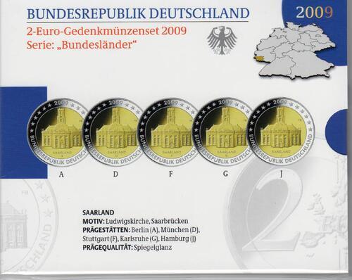 Lieferumfang:Deutschland : 2 Euro Saarland : Ludwigskirche in Saarbrücken Komplettsatz im Originalblister 5 x 2 Euro  2009 PP