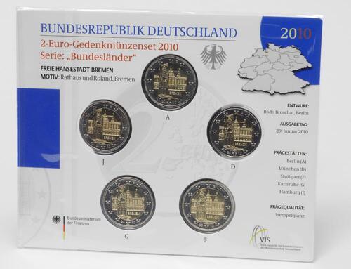 Lieferumfang:Deutschland : 2 Euro Bremen : Rathaus und Roland Komplettsatz im Originalblister 5 x 2 Euro  2010 Stgl.