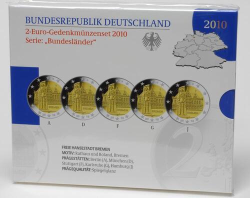 Lieferumfang:Deutschland : 2 Euro Bremen : Rathaus und Roland Komplettsatz im Originalblister 5 x 2 Euro  2010 PP