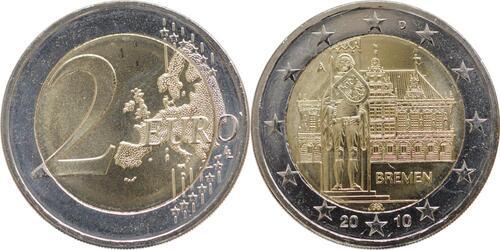 Lieferumfang:Deutschland : 2 Euro Bremen Komplettsatz A-J  2010 bfr