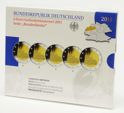 Lieferumfang:Deutschland : 2 Euro Nordrhein-Westfalen Kölner Dom Komplettsatz im Originalblister 5 x 2 Euro  2011 PP
