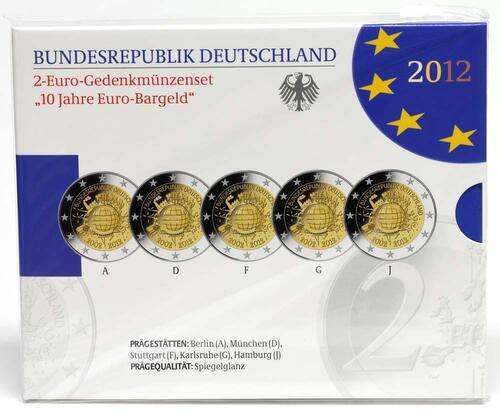 Lieferumfang:Deutschland : 2 Euro 10 Jahre Euro Bargeld Komplettsatz 5x2 Euro  2012 PP Blistersatz 10 Jahre Euro Bargeld 2012