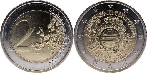 Lieferumfang:Deutschland : 2 Euro 10 Jahre Euro Bargeld  2012 Stgl.