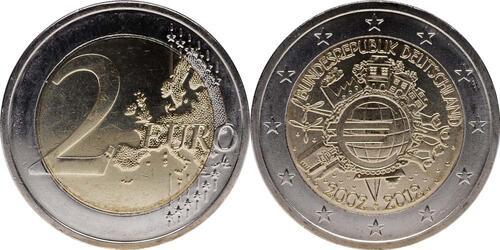 Lieferumfang:Deutschland : 2 Euro 10 Jahre Euro Bargeld  2012 bfr