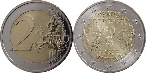 Lieferumfang:Deutschland : 2 Euro Elysée-Vertrag  2013 Stgl.