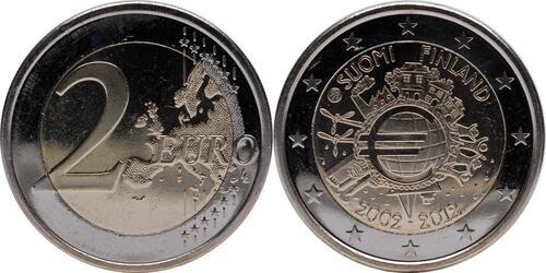 Lieferumfang:Finnland : 2 Euro 10 Jahre Euro Bargeld  2012 bfr