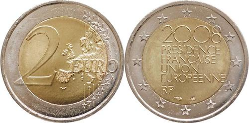 Lieferumfang:Frankreich : 2 Euro EU-Ratspräsidentschaft  2008 bfr 2 Euro Ratspräsidentschaft