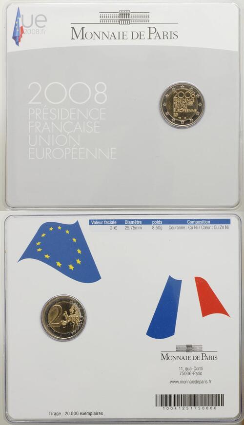 Lieferumfang:Frankreich : 2 Euro EU-Ratspräsidentschaft im Originalblister  2008 Stgl. 2 Euro Frankreich 2008 im Blister