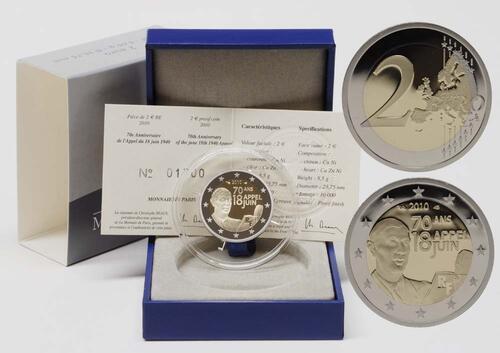 Lieferumfang:Frankreich : 2 Euro Appell des 18. Juni 1940  2010 PP
