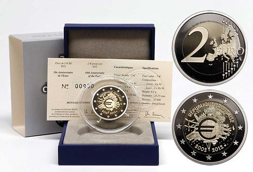 Lieferumfang:Frankreich : 2 Euro 10 Jahre Euro Bargeld  2012 PP