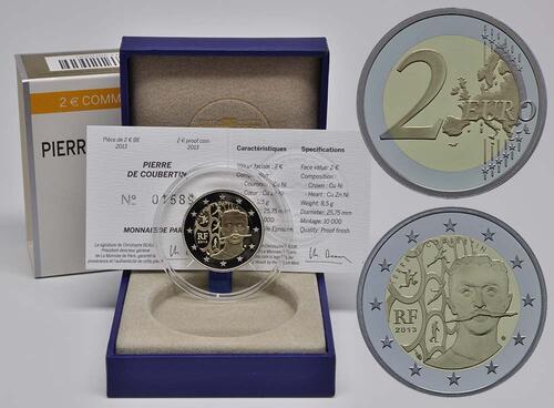 Lieferumfang:Frankreich : 2 Euro Pierre de Coubertin  2013 PP