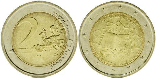 Lieferumfang:Italien : 2 Euro Römische Verträge  2007 bfr