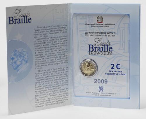 Lieferumfang:Italien : 2 Euro Louis Braille  2009 Stgl.