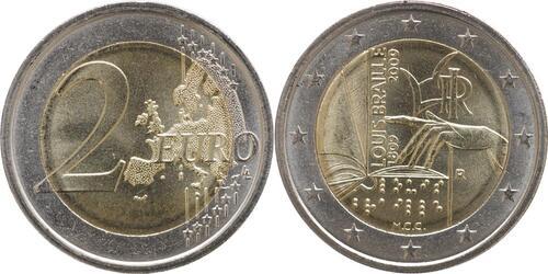Lieferumfang:Italien : 2 Euro Louis Braille  2009 bfr