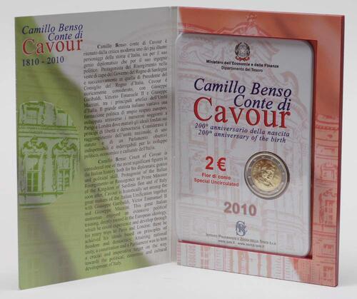 Lieferumfang:Italien : 2 Euro 200. Geburtstag von Camillo Benso di Cavour  2010 Stgl.