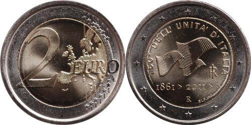 Lieferumfang:Italien : 2 Euro 150 Jahre Einigung Italiens  2011 bfr