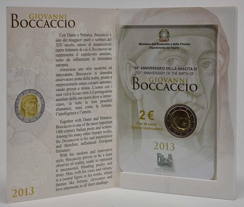 Lieferumfang:Italien : 2 Euro Giovanni Boccaccio  2013 Stgl.