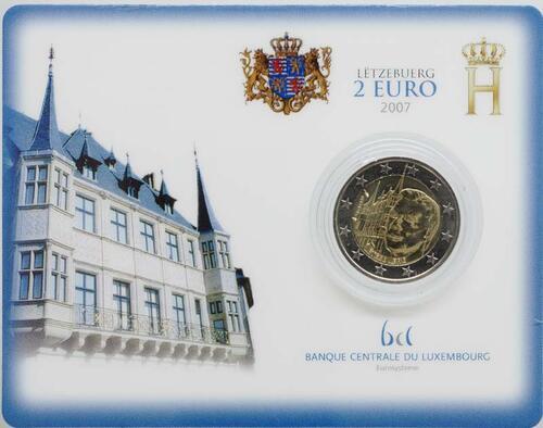 Lieferumfang:Luxemburg : 2 Euro Großherzogliches Palais  2007 Stgl. 2 Euro Luxemburg 2007 Blisterausgabe; Blister; Coincard