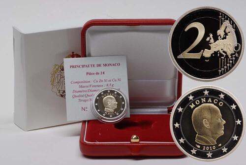 Lieferumfang:Monaco : 2 Euro Albert II.  2010 PP