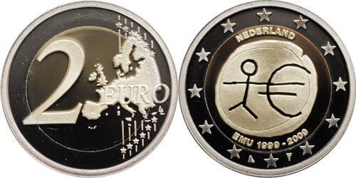 Lieferumfang:Niederlande : 2 Euro 10 Jahre Euro in Originalkapsel  2009 PP 2 Euro Niederlande 2009 PP