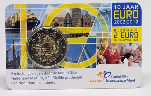 Lieferumfang:Niederlande : 2 Euro 10 Jahre Euro Bargeld  2012 Stgl.