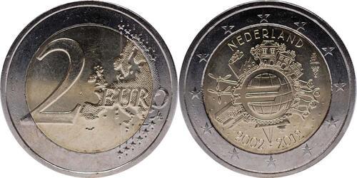 Lieferumfang:Niederlande : 2 Euro 10 Jahre Euro Bargeld  2012 vz.