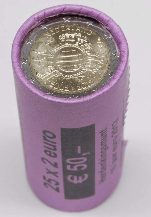 Lieferumfang:Niederlande : 2 Euro 25 x 2 Euro Originalrolle 10 Jahre Euro Bargeld  2012 Stgl.