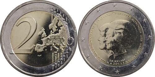 Lieferumfang:Niederlande : 2 Euro Thronwechsel - Doppelportrait Beatrix / Willem Alexander  2013 vz.