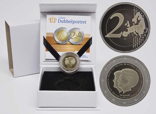 Lieferumfang:Niederlande : 2 Euro Thronwechsel - Doppelportrait Beatrix / Willem Alexander  2013 PP