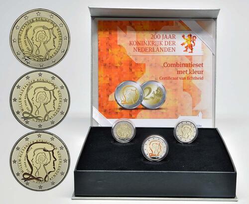 Lieferumfang:Niederlande : 6 Euro Königreich Set: 3x2 Euro 1x farbig PP, 1x Stgl., 1x PP  2013 Stgl.
