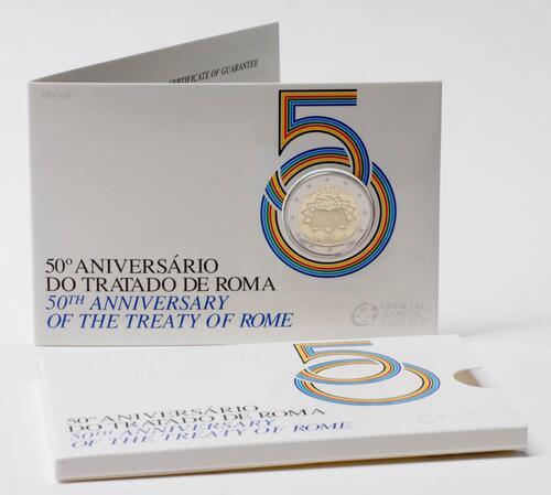 Lieferumfang:Portugal : 2 Euro Römische Verträge im Originalblister  2007 PP