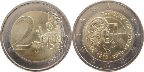 Lieferumfang:Portugal : 2 Euro 100 Jahre Portugiesische Republik  2010 bfr 2 Euro Portugal 2010
