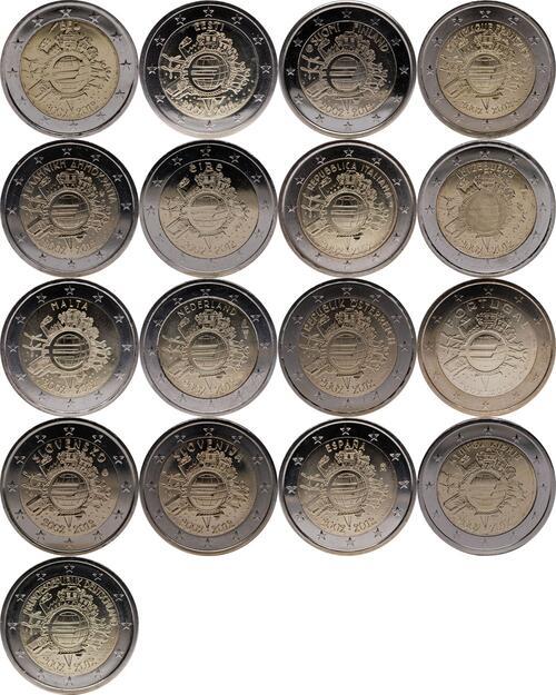 Lieferumfang:International : 2 Euro 17 x 2 Euro 10 Jahre Euro Bargeld (Belgien, Deutschland, Estland, Finnland, Frankreich, Griechenland, Irland, Italien, Luxemburg, Malta, Niederlande, Österreich, Portugal, Slowakei, Slowenien, Spanien, Zypern)  2012 Stgl.