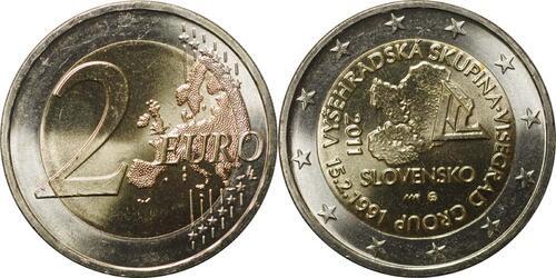 Lieferumfang:Slowakei : 2 Euro 20. Jahrestag der Visegrád-Gruppe  2011 bfr