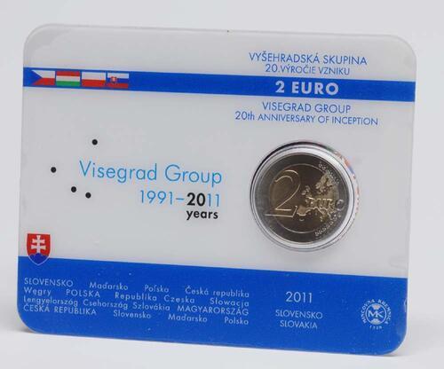Lieferumfang:Slowakei : 2 Euro 20. Jahrestag der Visegrád-Gruppe  2011 Stgl. 2 Euro Coincard Slowakei 2011