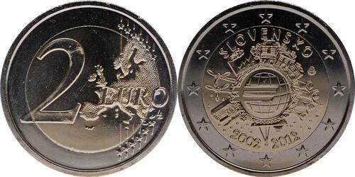 Lieferumfang:Slowakei : 2 Euro 10 Jahre Euro Bargeld  2012 bfr