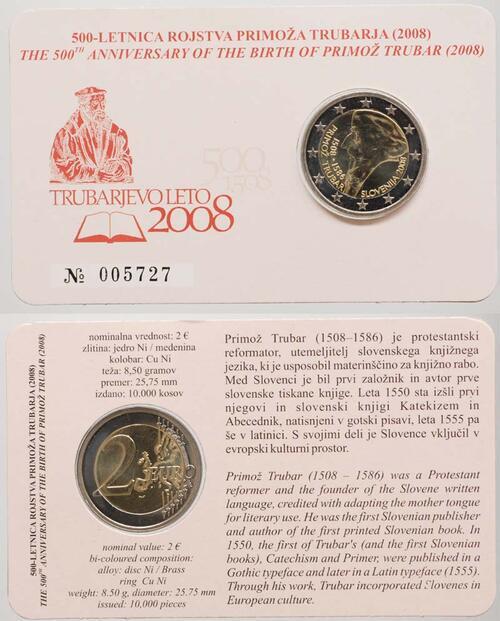 Lieferumfang:Slowenien : 2 Euro Primoz Trubar  2008 Stgl. 2 Euro Trubar in Coincard