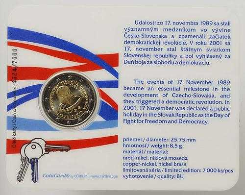 Lieferumfang:Slowakei : 2 Euro Samtene Revolution in Original-Coincard  2009 Stgl.