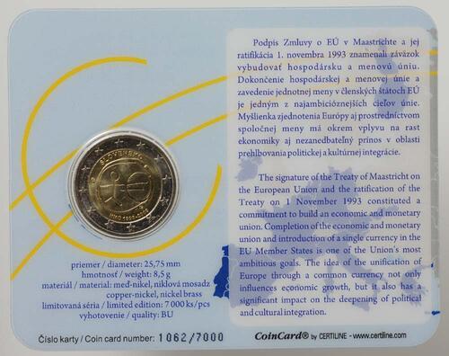 Lieferumfang:Slowakei : 2 Euro WWU in Original-Coincard  2009 Stgl.