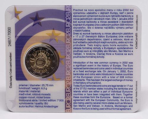 Lieferumfang:Slowakei : 2 Euro 10 Jahre Euro Bargeld  2012 Stgl.