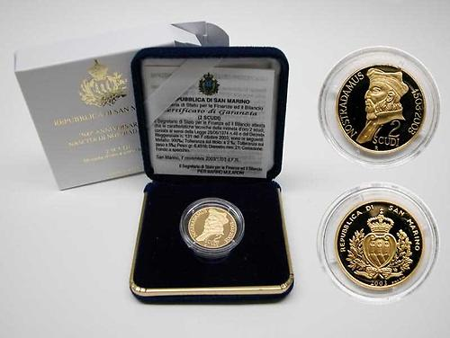 "Lieferumfang:San Marino : 2 Scudi ""Nostradamus"" inkl. Originaletui und Zertifikat  2003 PP"