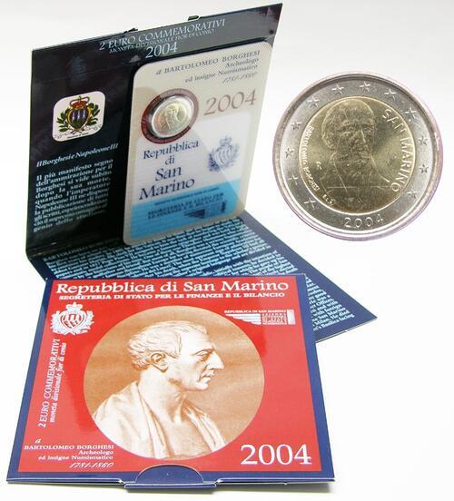 Lieferumfang:San Marino : 2 Euro Bartolomeo Borghesi  2004 Stgl.