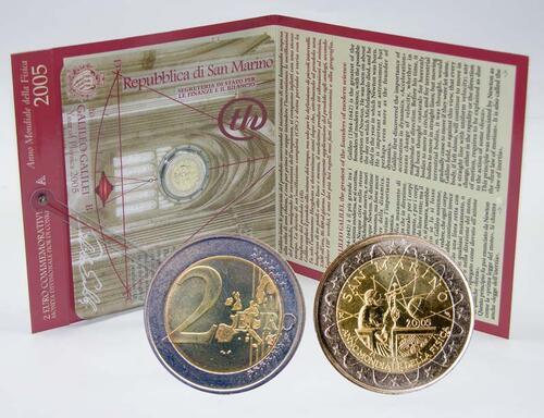 Lieferumfang:San Marino : 2 Euro Galileo Galilei  2005 Stgl.