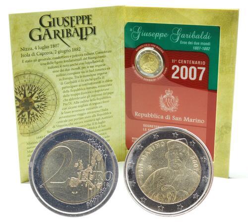 Lieferumfang:San Marino : 2 Euro 200. Geburtstag  Garibaldi  2007 Stgl.