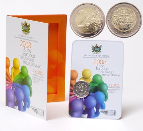 Lieferumfang:San Marino : 2 Euro Europäisches Jahr der interkulturellen Kommunikation  2008 Stgl. 2 Euro San Marino 2008