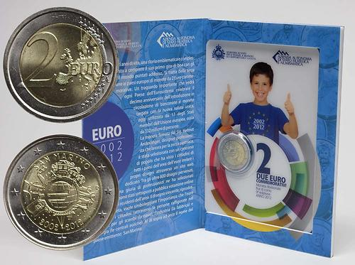Lieferumfang:San Marino : 2 Euro 10 Jahre Euro Bargeld  2012 Stgl.