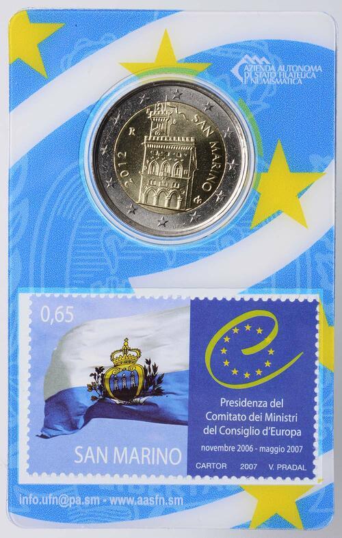 Lieferumfang:San Marino : 2 Euro Mini-Kit mit 65ct Briefmarke  2012 vz/Stgl.