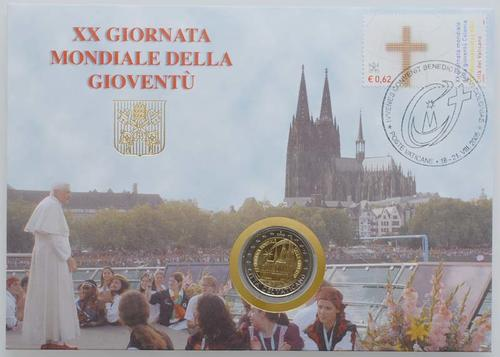 Lieferumfang:Vatikan : 2 Euro Weltjugendtag Köln / Kölner Dom mit Briefmarken  2005 vz/Stgl. 2 Euro Vatikan 2005